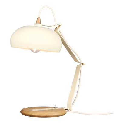 Lampari Rhoda Metal Ivory and Oak Table Lamp-listing