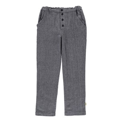 Nui Pantalon Flanelle Coton Bio Chevrons Billy Gris-listing