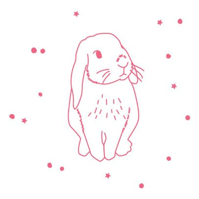 MIMI'lou Sticker Lapin fluo-listing