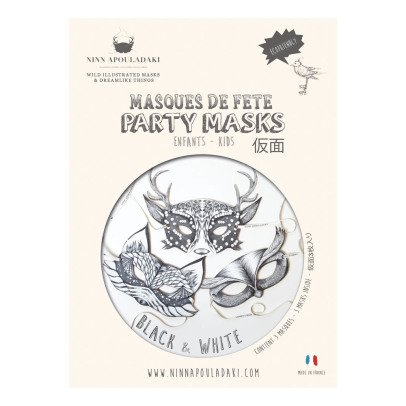Ninn Apouladaki Black & White Party Masks - Set of 3-listing