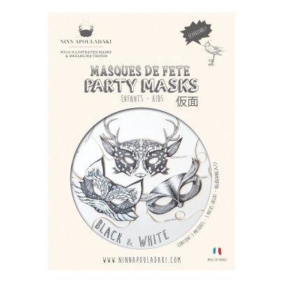 Ninn Apouladaki Black & White Party Masks - Set of 3-listing