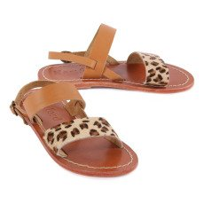 Hartford Leopard Leather Sandals -product
