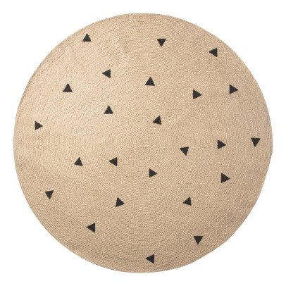 Ferm Living Black Triangle Pattern Round Rug-listing