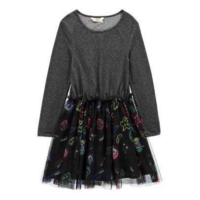 Little Eleven Paris Ramones Rock Dress with Mesh Insert-listing