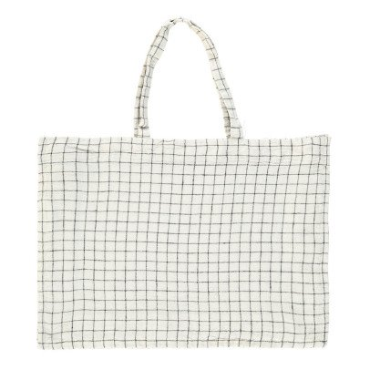 Linge Particulier Black & White Checked Washed Linen Shopper-listing