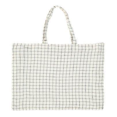 Linge Particulier Shopper di lino bianco-nero quadretti-listing