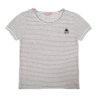 Emile et Ida Striped Linen and Cotton T-Shirt-listing