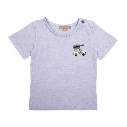 Emile et Ida Embroidered Car Striped T-Shirt-listing