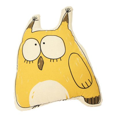 Gab et Lou Yellow Owl Cushion-listing