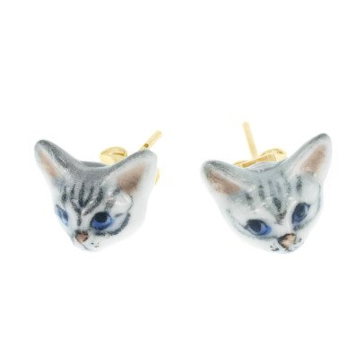 Nach Mini Cat Porcelain Earrings-listing