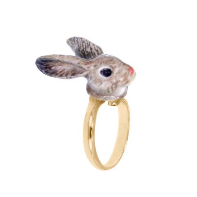 Nach Mini Rabbit Adjustable Porcelain Ring-listing