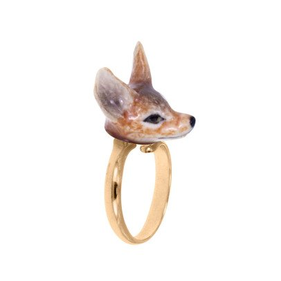 Nach Mini Fox Adjustable Porcelain Ring-listing