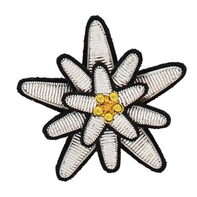 Macon & Lesquoy Hand Embroidered Edelweiss Brooch Silvery-listing