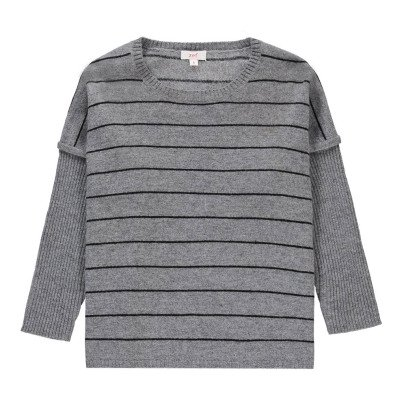 Zef Cashmere striped Easy poncho Light grey-listing