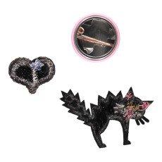 Macon & Lesquoy  Bügelabzeichen   Brosche Love Cats  Schwarz-listing