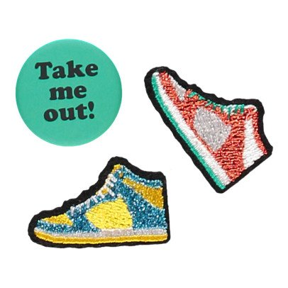 Macon & Lesquoy Iron-on Take Me Out Badge Turquoise-listing