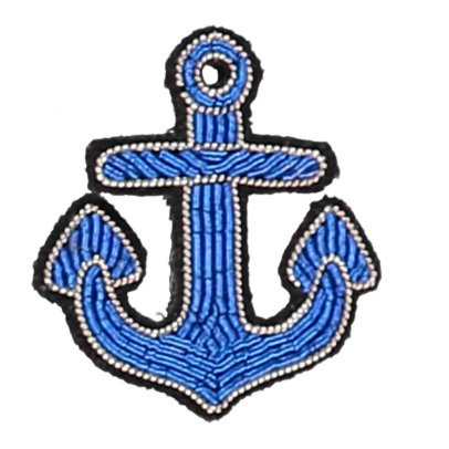 Macon & Lesquoy Brosche Anker gestickt  Blau-listing