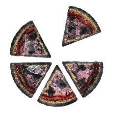 Macon & Lesquoy 5 Bügelabzeichen gestickt Pizza Rot-listing