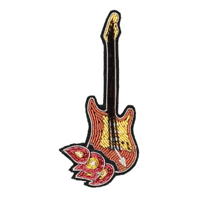 Macon & Lesquoy Hand Embroidered Guitar on Fire Brooch Brown-listing