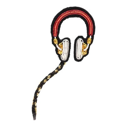 Macon & Lesquoy Pin's Casque Audio Brodée Main Rouge-listing