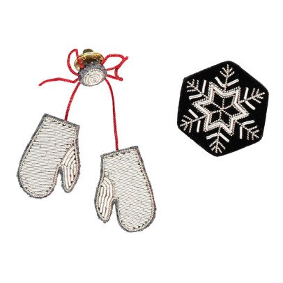 Macon & Lesquoy Assortment of 2 Winter Brooches Silvery-listing