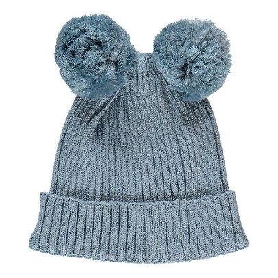 Mini Rodini Organic Cotton Beanie with Pompom Ears-listing