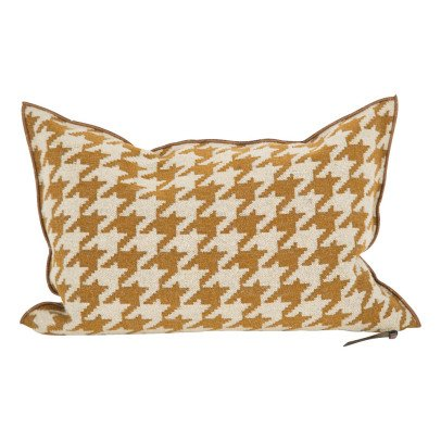 Maison de vacances Ocre Houndstooth Wool Cover Reversible Cushion-listing