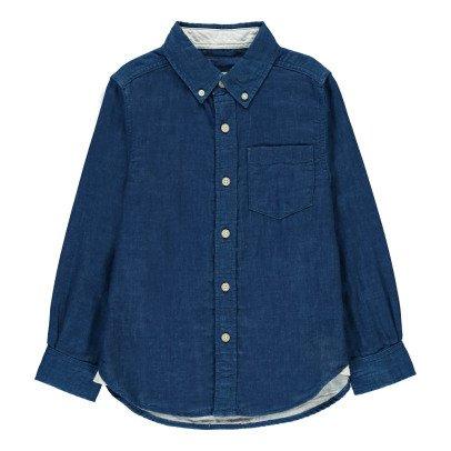 BARQUE Chemise Coton Japonais Chambray Bleu indigo-listing
