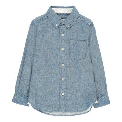 BARQUE Chemise Coton Japonais Chambray Bleu jean-listing