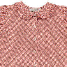 Caramel Jicama Buttoned Check Blouse-listing