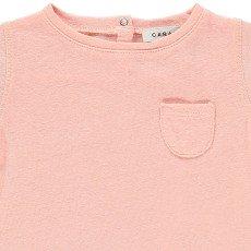 Caramel gestreiftes Lein - Baumwolle T-Shirt Avocado-listing