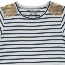 Louis Louise Anaïs Gold Shoulder Striped T-Shirt-listing