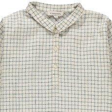 Caramel Camisa de Lino Cuadros Corn-listing