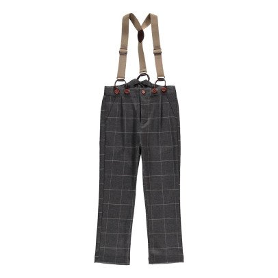 Noro Guss Trousers with Checked  Braces Dark grey-listing