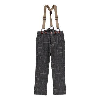 Noro Pantalon Bretelles Carreaux Guss Gris foncé-listing