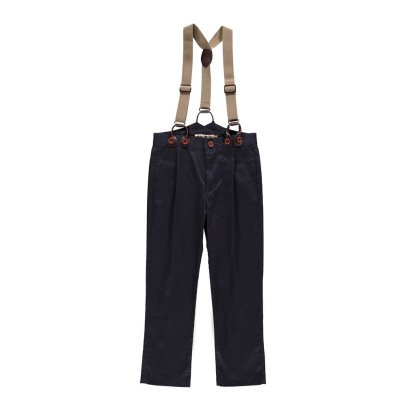 Noro Guss Trousers with Twill Braces Navy blue-listing