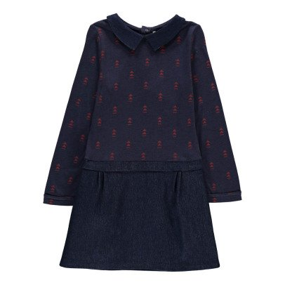 Blune Kids Robe Bi-matières Triangles Hands Up Bleu marine-listing