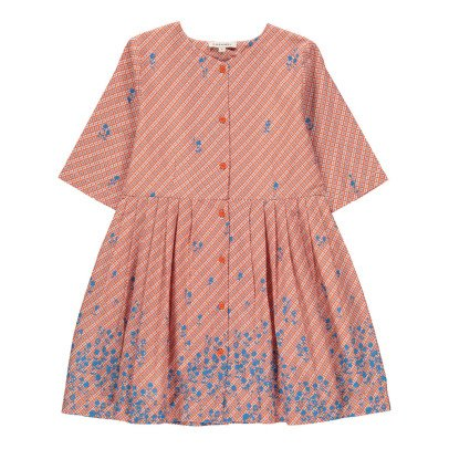 Caramel Chicory Floral Checked Dress with Buttons-listing