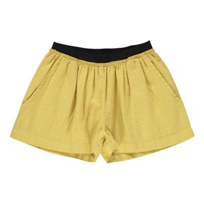 Caramel Borage Cotton Linen Shorts-listing