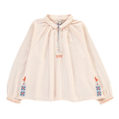 Caramel Daylily Embroidered Blouse-product