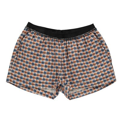 Caramel Borage Checked Linen Shorts-listing