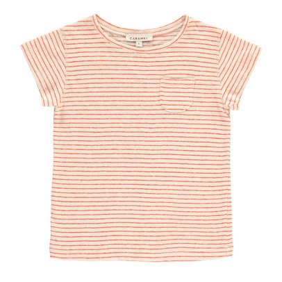 Caramel Avocado Striped Cotton Linen T-Shirt-product