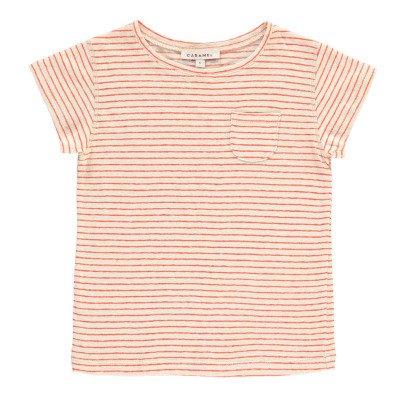 Caramel T-Shirt Lino Cotone Righe Avocado-listing