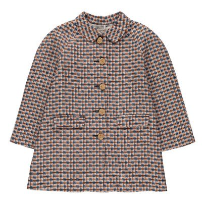 Caramel Tormatillo Checked Linen Coat-listing