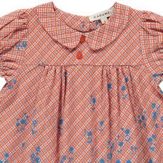 Caramel Chicory Floral Checked Dress-listing