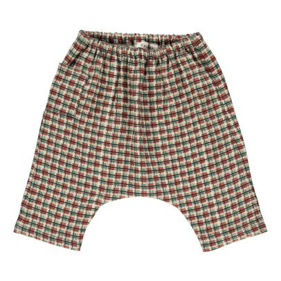 Caramel Azuki Checked Linen Harem Trousers-product