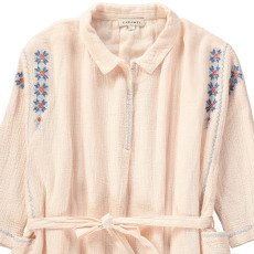 Caramel Dandelion Tie Waist Embroidered Dress-product