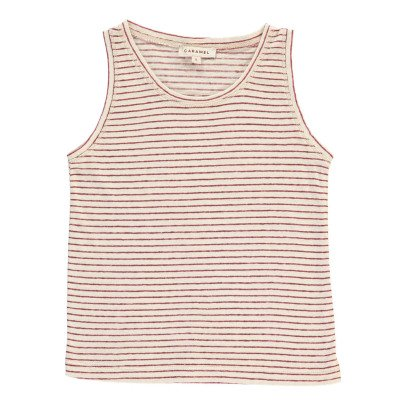 Caramel Cabbage Striped Cotton Linen Vest Top-listing