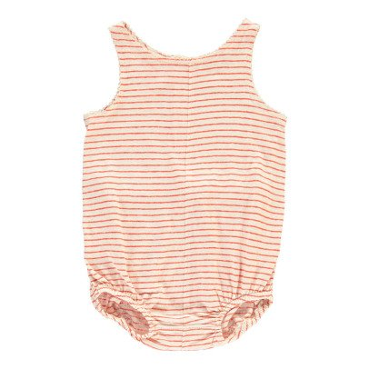 Caramel Sprout Striped Cotton Linen Romper-product
