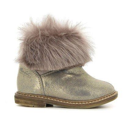 Pom d'Api Boots Cuir Irisé Fourure Retro Chabraque-listing